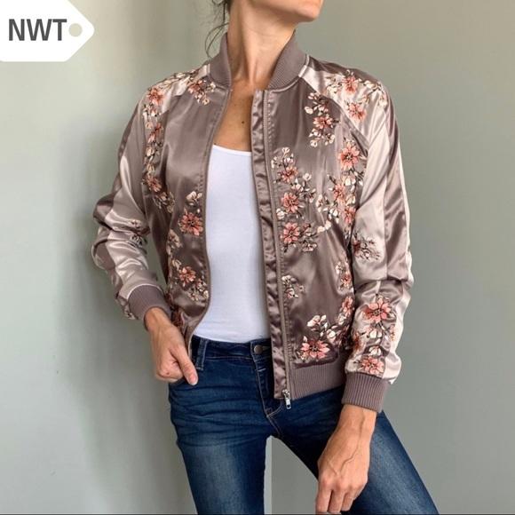 NWT S Satin Floral Embroider Revolve Bomber Jacket